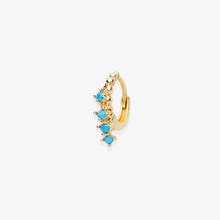 Load image into Gallery viewer, Lara - Turquoise Stone Fringe Mini Hoops - estellacollection