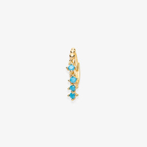 Lara - Turquoise Stone Fringe Mini Hoops - estellacollection