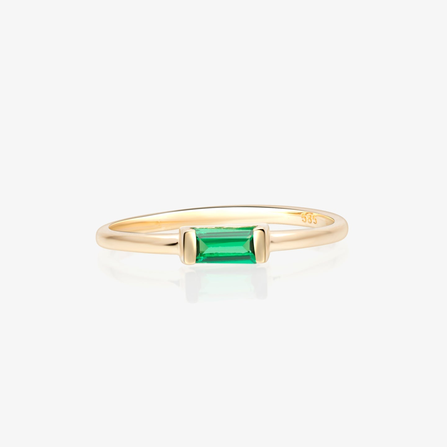 Stacking Ring With Green Baguette - estellacollection