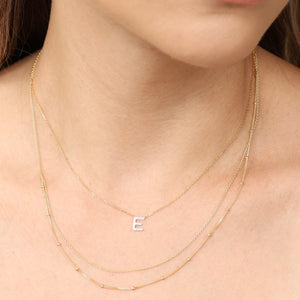 14k Solid Gold Beaded And Cuban Double Layer Chain Necklace - Adjustable