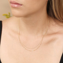 Load image into Gallery viewer, 14k Solid Gold Beaded And Cuban Double Layer Chain Necklace - Adjustable