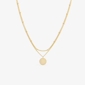 Double Wrap Medallion Pendant Necklace in 14k Yellow Gold - Engravable