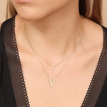 "Load image into Gallery viewer, 14K Solid Gold V Shape Layering Necklace 16""/18"""