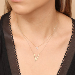 "14K Solid Gold V Shape Layering Necklace 16""/18"""