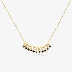 "14K Gold Black Onyx Bead Fringe Bar Necklace 18"" / 20"""