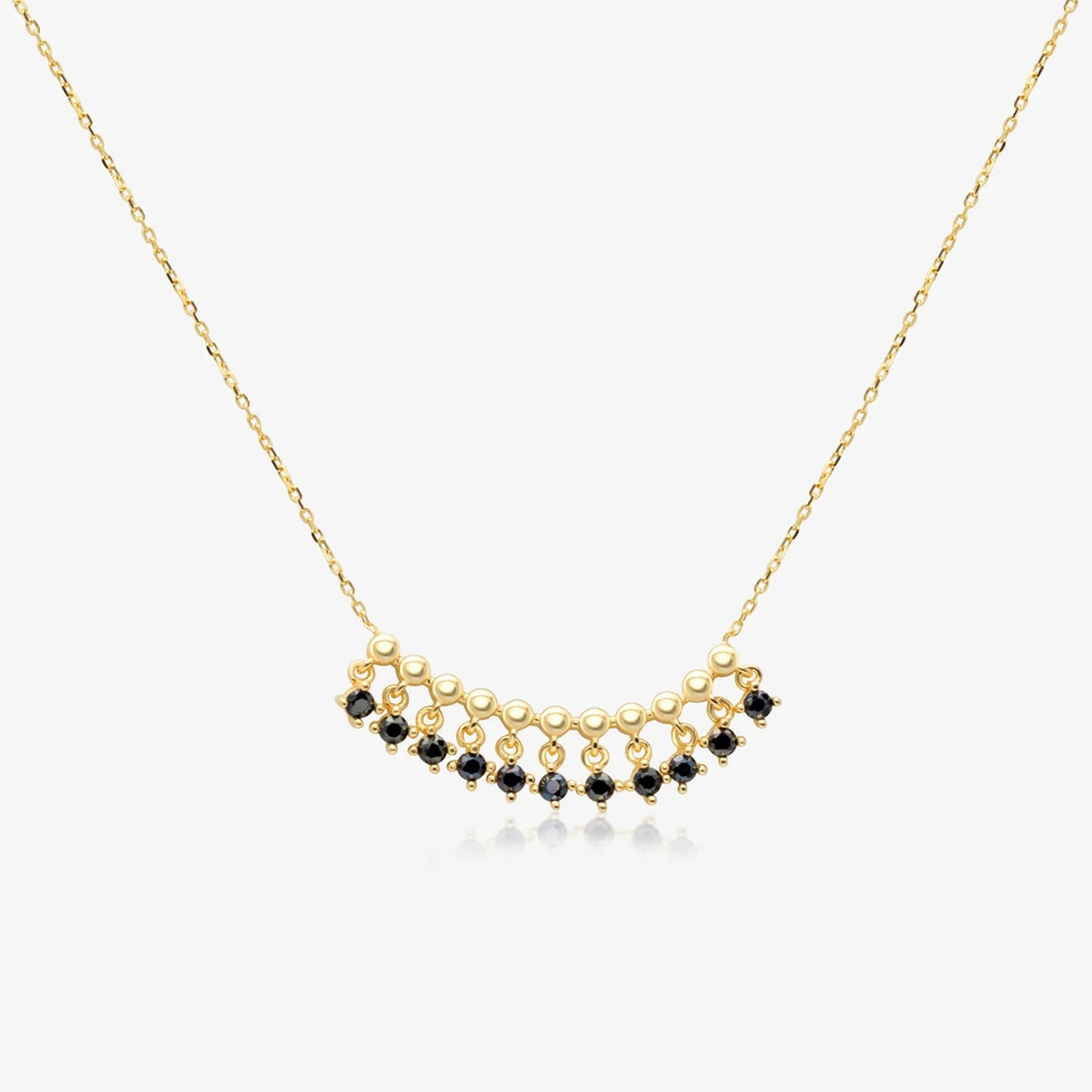 14K Gold Black Onyx Bead Fringe Bar Necklace 18