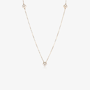 "38"" Long Diamond And Pearl Stacking Necklace 14K Rose Gold"
