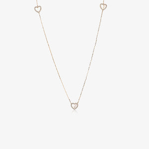 "38"" Long Pearl And Diamond Heart Stacking Necklace - estellacollection"