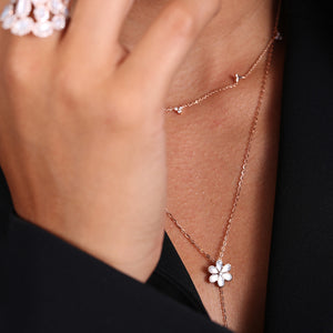 Diamond And Pearl Flower Lariat Necklace - estellacollection