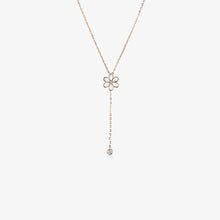 Load image into Gallery viewer, Diamond And Pearl Flower Lariat Necklace - estellacollection