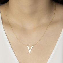 Load image into Gallery viewer, 10K Solid Gold V Shape Layering Necklace