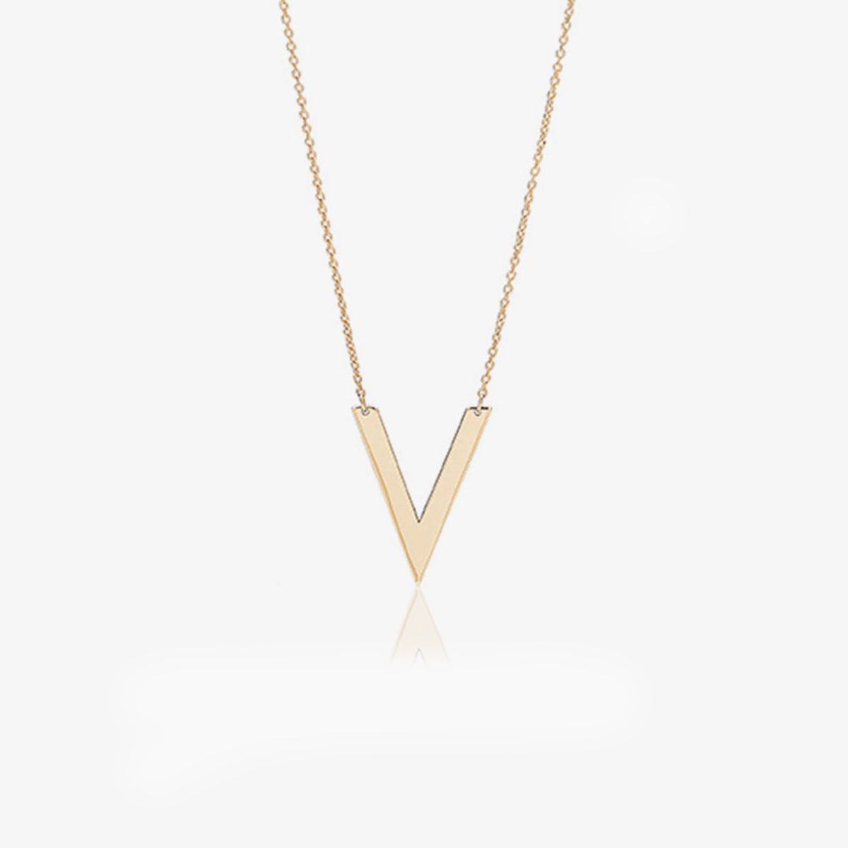 10K Solid Gold V Shape Layering Necklace - estellacollection