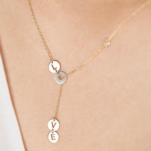 14K Solid Gold Love Necklace