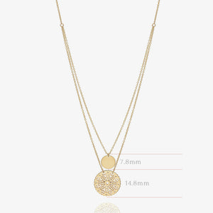 10K Gold Double Disc Coin Layering Necklace - estellacollection