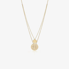 Load image into Gallery viewer, 10K Gold Double Disc Coin Layering Necklace - estellacollection