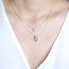 Load image into Gallery viewer, 10K Solid Gold Necklace Double Disc Coin Layering Necklace