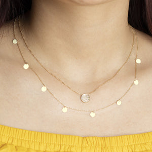 14K Solid Gold Layering Disc Coin Necklace - estellacollection