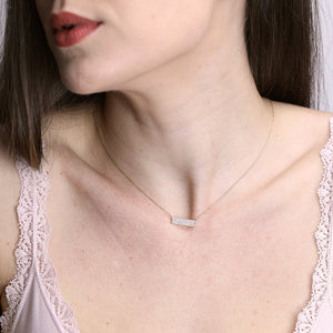 Diamond Studded 5-Row Bar Pendant Delicate Necklace