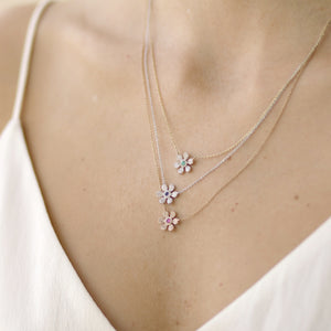 Diamond & Sapphire 14k Gold Lily Pendant Layer Necklace - estellacollection
