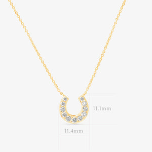 Lucky Diamond 14k Gold Horseshoe Pendant Layer Necklace - estellacollection