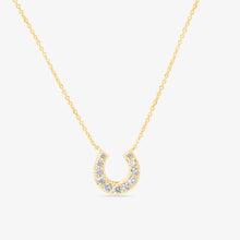 Load image into Gallery viewer, Lucky Diamond 14k Gold Horseshoe Pendant Layer Necklace - estellacollection