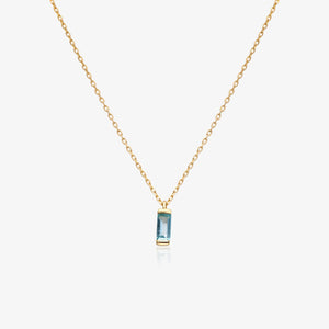 "14K Gold Blue Baguette Pendant Necklace 16""-20"""
