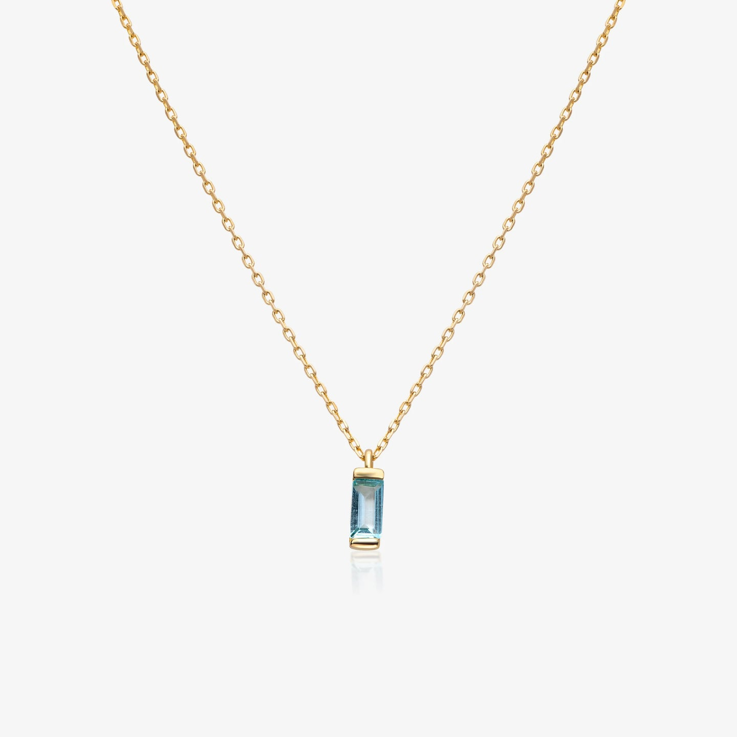 14K Gold Blue Baguette Pendant Necklace 16