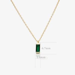 Green Baguette Pendant Necklace - estellacollection