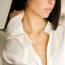 Load image into Gallery viewer, Lara - Studded Celestial Crescent Moon Pendant Necklace - estellacollection