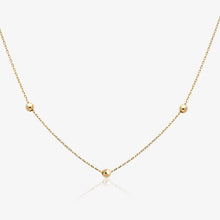 "Load image into Gallery viewer, Yellow Gold Bead Station 20"" Adjustable Necklace - estellacollection"