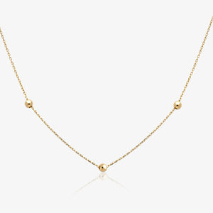 "Yellow Gold Bead Station 20"" Adjustable Necklace - estellacollection"