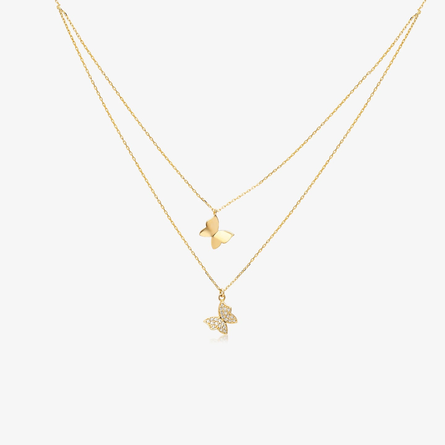 Lara - Layering Butterfly Necklace 14K Gold with Adjustable Chain 16