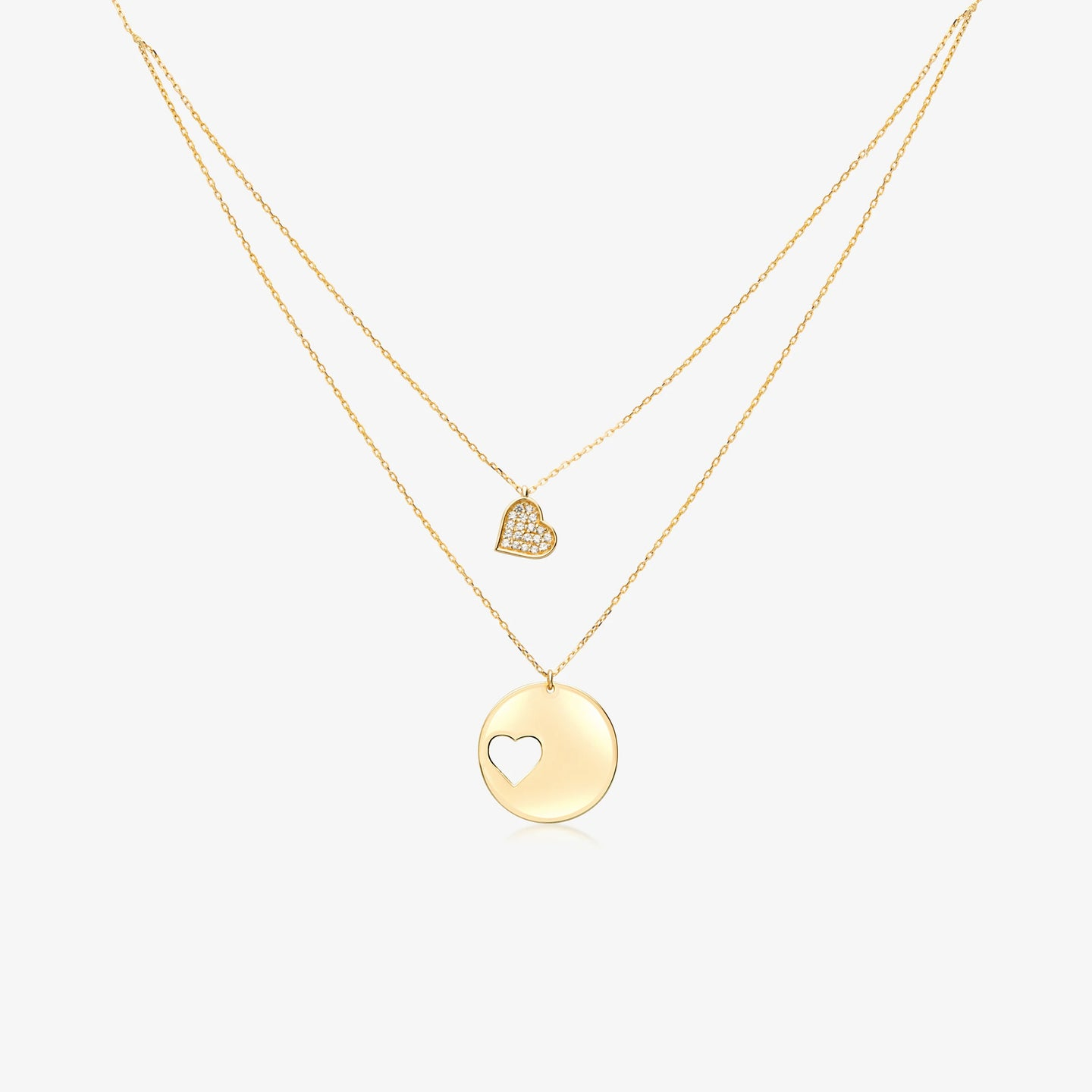 Gold Double Heart Layering Necklace - estellacollection