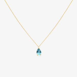 Blue Pear Shape Pendant Necklace - estellacollection