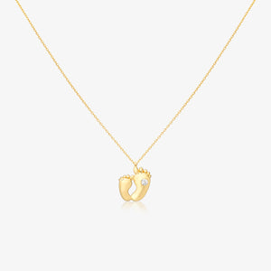 Baby Feet Pendant Necklace With Adjustable Gold Chain - estellacollection