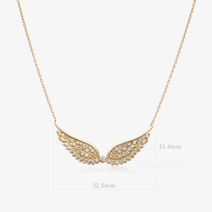 Gold Glittering Angel Wings Necklace - estellacollection
