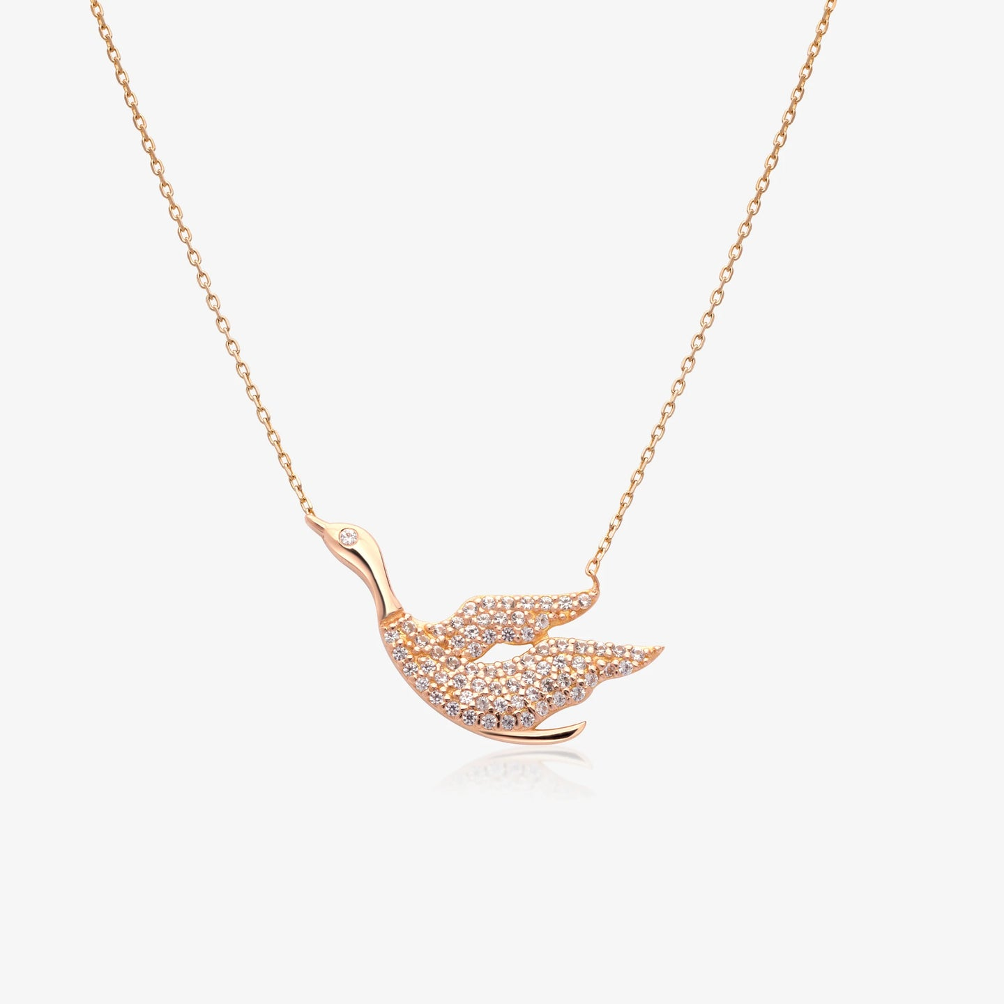 Sparkling Swan Pendant Necklace - estellacollection