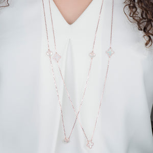 "38"" Long Diamond And Pearl Clover Layering Necklace - estellacollection"