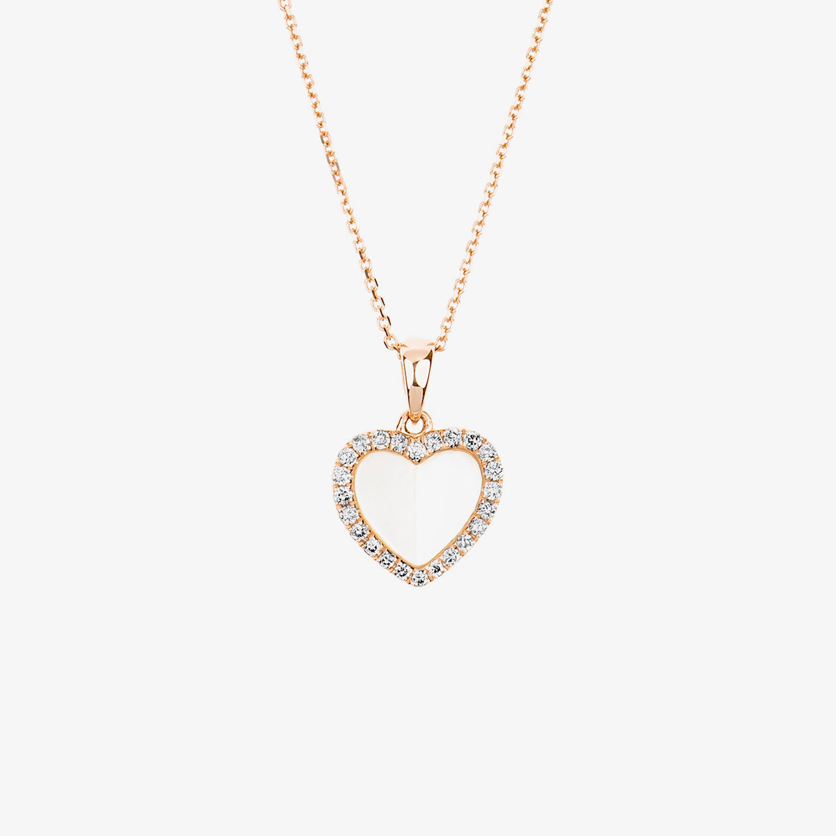 Laila - Pearl And Diamond Heart Pendant Necklace - estellacollection
