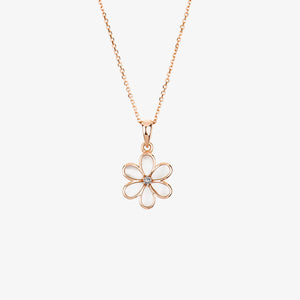 Laila - Pearl And Diamond Flower Necklace - estellacollection