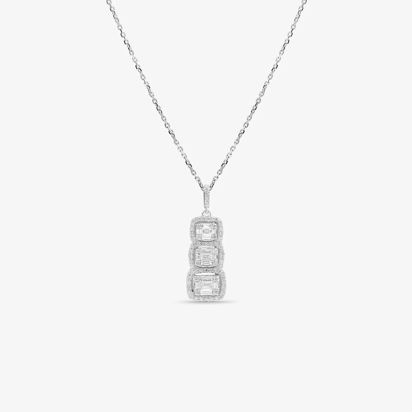 3 Stone Journey Pendant With Baguette And Round Diamonds - estellacollection
