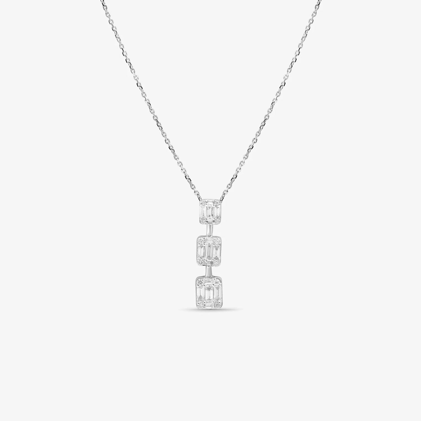 Baguette And Round Diamonds 3 Stone Journey Pendant - estellacollection