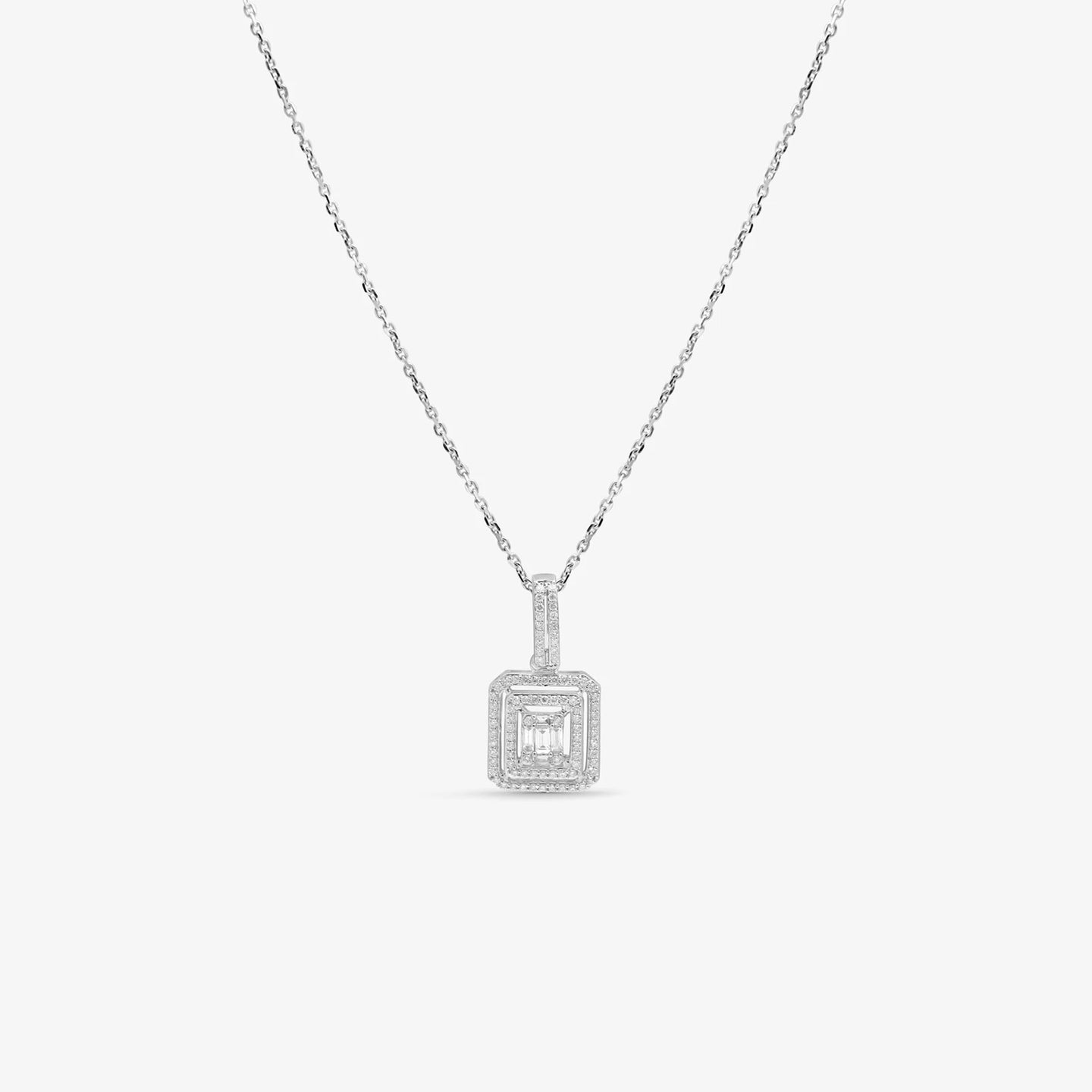 Baguette Diamond Double Halo Pendant Necklace With The Chain
