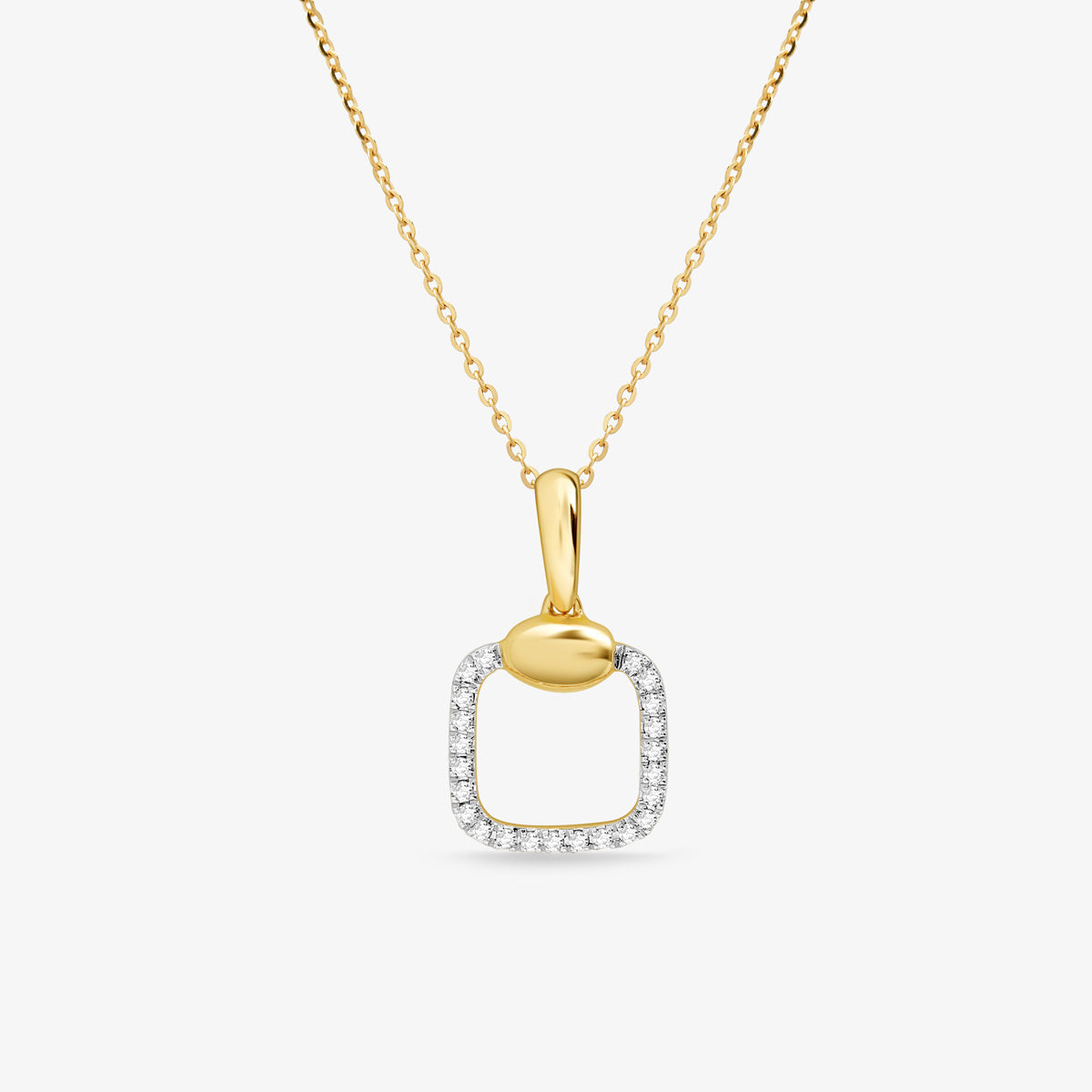 Women's Cushion Cut Halo Diamond Pendant, Includes Adjustable Gold Chain - estellacollection