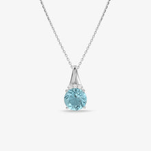 Load image into Gallery viewer, Blue Topaz and Diamond Pendant Necklace - estellacollection