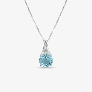 Blue Topaz and Diamond Pendant Necklace - estellacollection