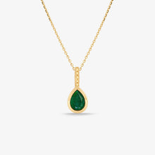 Load image into Gallery viewer, Green Agate Gem Stone Pendant Necklace With Adjustable Gold Chain - estellacollection