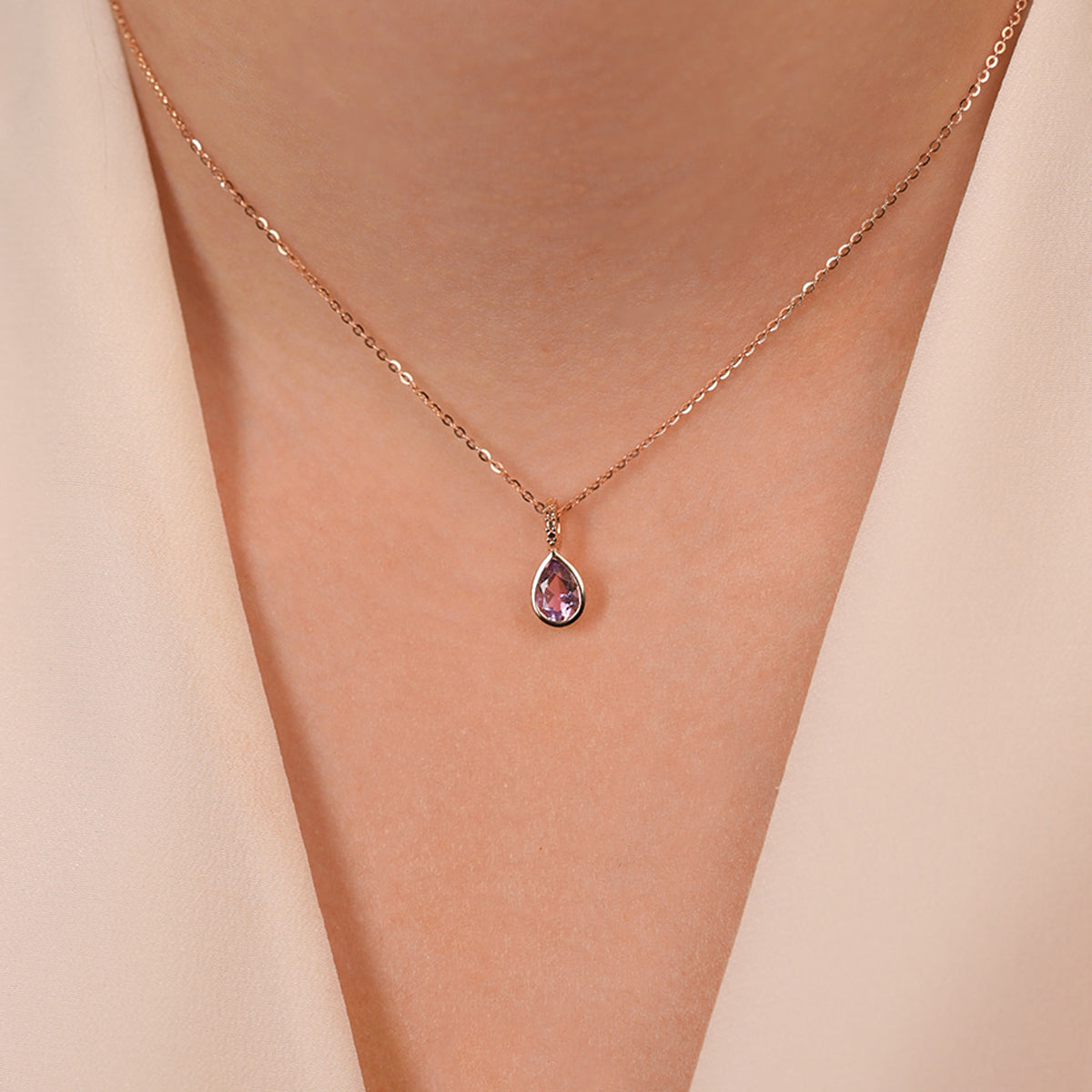 Tear Drop Amethyst Gem Stone Pendant Necklace With Adjustable Chain - estellacollection