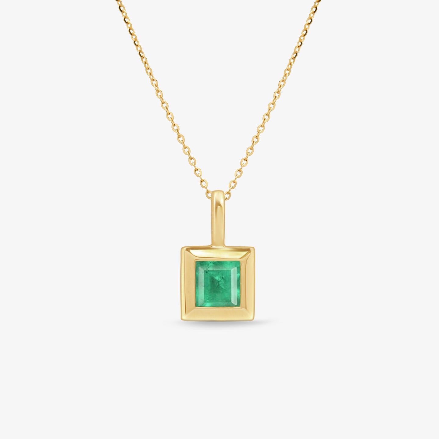 Square Emerald Pendant Necklace With Gold Chain - estellacollection