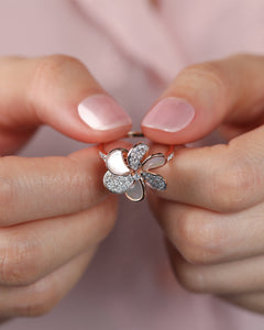 Laila - Diamond Flower Ring In Gold And Pearls